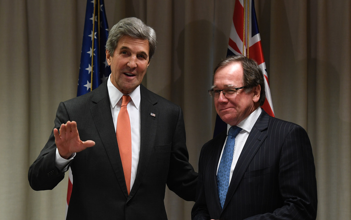 US Secretary of State John Kerry, at left, and New Zealand Foreign Minister Murray McCully