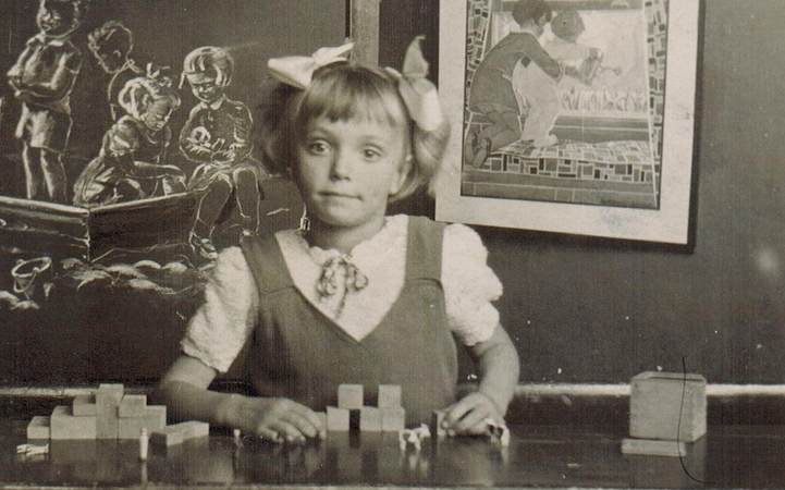 "Huberta at kindergarten (""We started school at 6 years old but because my birthday was in October I had to wait until August of the next year before I could start school."")"