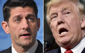 This combination of photos shows Republican presidential nominee Donald Trump(R) on October 10, 2016 and Speaker of the House Paul Ryan, R-WI, on June 22, 2016