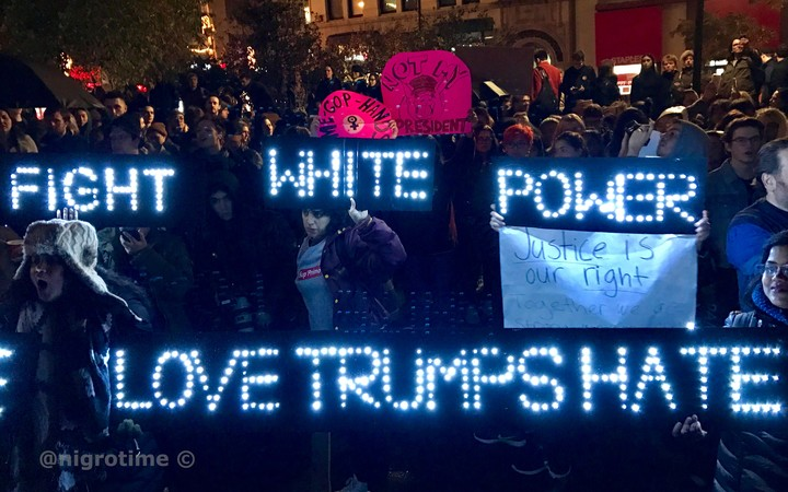 Anti-Trump protesters in Union Square, New York, on Wednesday night. #NotMyPresident has been shared on Twitter thousands of times.