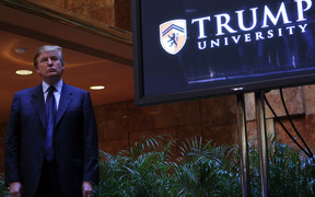 Donald Trump announces the establishment of Trump University in New York in May 2005.