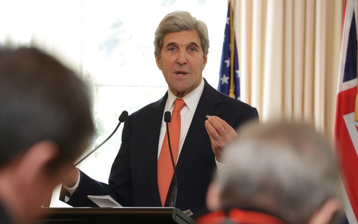 John Kerry answers media questions at the press conference at Premier House in Wellington.