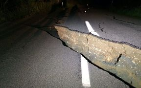 The quake damage could be clearly seen on Leader Rd in Kaikoura.