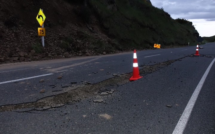 Crack on state highway just before Hanmer Springs