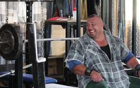 "Strongman Levi Vaoga in the film ""the Life I've Lived"""