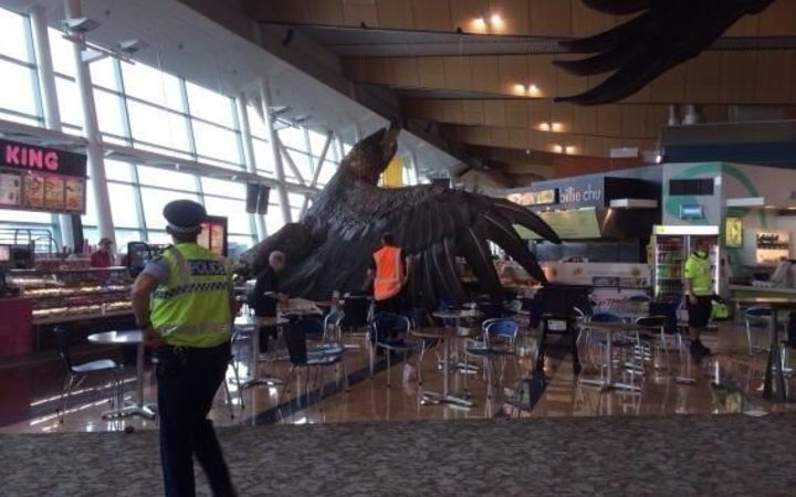 At Wellington Airport, a giant eagle sculpture came down.