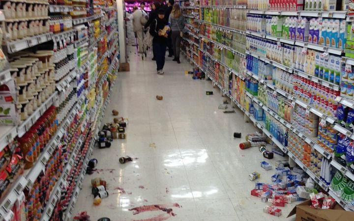 New World Chaffers supermarket in Wellington after the quake.