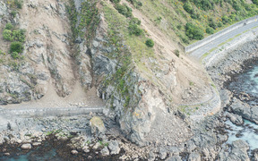 Aerial image of rockfall caused by the earthquake on the Kaikoura coast