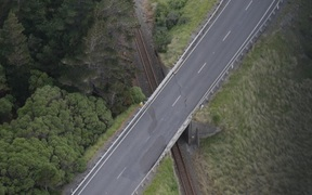 Earthquake damaged bridge in Kaikoura area.