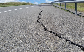 Cracks in a closed section of State Highway 1 just south of Seddon.