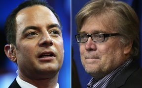 Republican National Convention chairman Reince Priebus, left, and Donald Trump's campaign CEO Stephen K Bannon.
