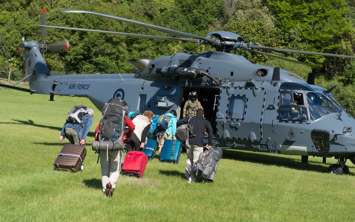 Four NZDF NH90 helicopters and commercial helicopters were helping evacuate tourists from the town.