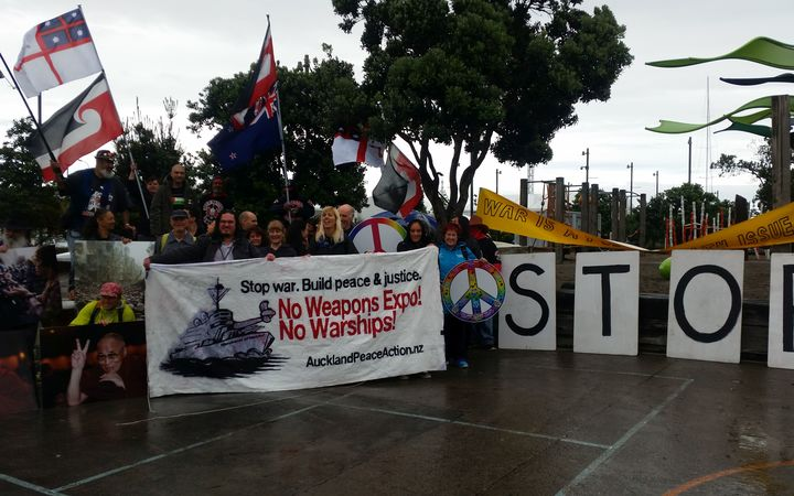 Protesters preparing to blockade a defence forum in Auckland this morning