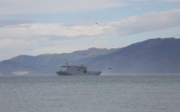 HMNZS Canterbury arrives in Kaikoura, which has been cut-off since the 7.5 magnitude earthquake struck near Hanmer Springs.