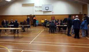 Evacuees at Amberley Pavillion in the Hurunui District