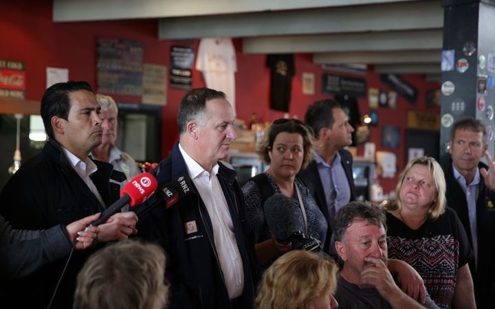 John Key talks to Kaikoura business owners in his second visit to the town since the big quake.
