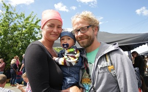 Sarah, baby Kenoah and Tom Herrmann, from Germany, are not leaving Kaikoura yet.