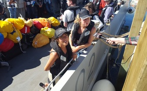 French tourists Lucie and Louisa moments before leaving Kaikoura on the HMNZS Canterbury.