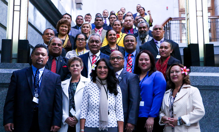 Pacific MPs pose for a group photo inside the New Zealand Parliament building. The more than 40 delegates from 17 Pacific countries and territories are in New Zealand for the Pacific Parliamentary Forum. It was held in Auckland and Wellington from the 14th to the 18th of November 2016.