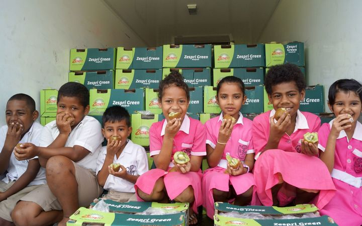 Nine tonnes of kiwifruit is being distributed to schools mainly around Suva.