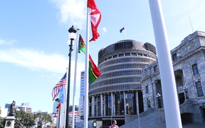 Pacific flags flying outside the New Zealand Parliament building in Wellington.