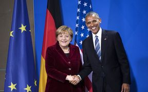 US President Barack Obama with German Chancellor Angela Merkel.