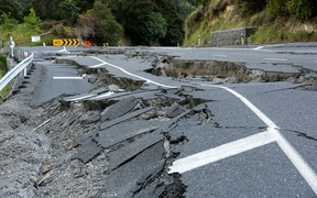 Earthquake damage to State Highway 1,south of Kaikoura on November
