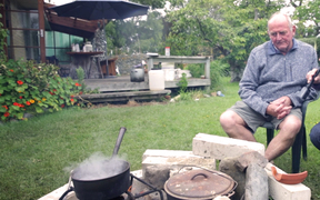 Kaikoura man Gary Melville had no power, so he cooked his lamb roast outside.