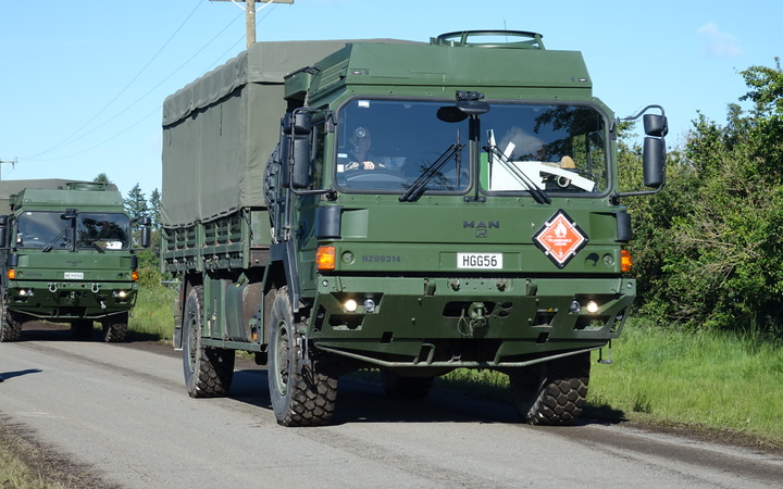 Defence Force trucks, carrying supplies, head for Kaikoura.