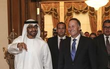 Prime Minister John Key meets with Crown Prince Mohammed bin Zayed bin Sultan Al Nahyan in Abu Dhabi.