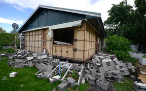 A quake-damaged house in Waiau.