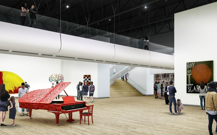 An artist's impression of the inside of the new art gallery at Te Papa.