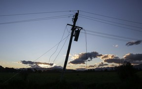 Power lines down in Kaikoura
