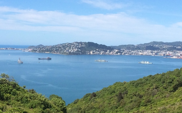 The three foreign warships in Wellington harbour were joined by New Zealand's frigate Te Kaha and tanker Endeavour.