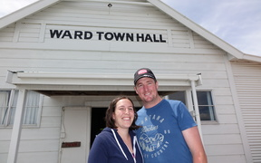 Ward farmers Angela and Tom Loe outside the town hall.