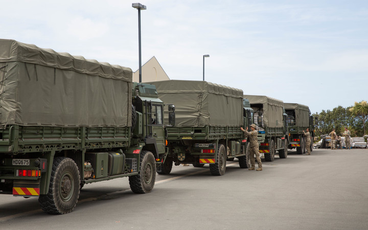 A 2nd army convoy arrives in Kaikoura, delivering supplies to the local New World.