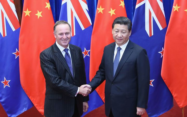John Key with Chinese President Xi Jinping in Beijing during a visit in March.
