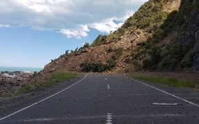 A landslip on SH1 near Kaikoura