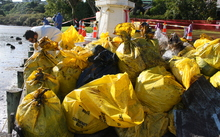 Bags of waste and oil collected at Maungatapu, near Tauranga.