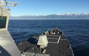 U.S.S. Sampson off Kaikoura