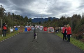 Protests were held at the entrance to the Pike River mine.