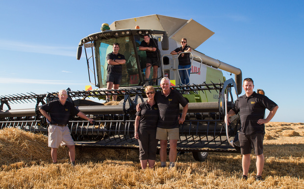 Warren and Joy Darling - and family - with their record-breaking barley crop.
