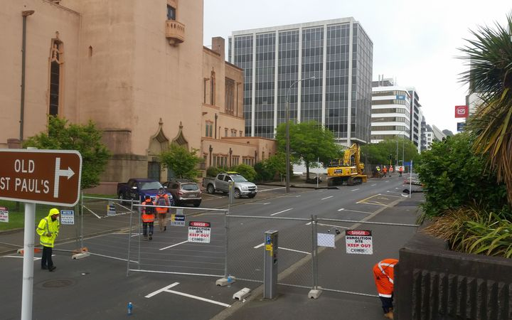 The cordon around the condemned building at 61 Molesworth St in central Wellington.