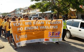 Women march in Honiara to mark the beginning of 16 days of activism for the elimination of violence against Women in 2015.