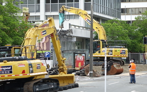 Demolition begins at the site of the disused office block on 61 Molesworth St.