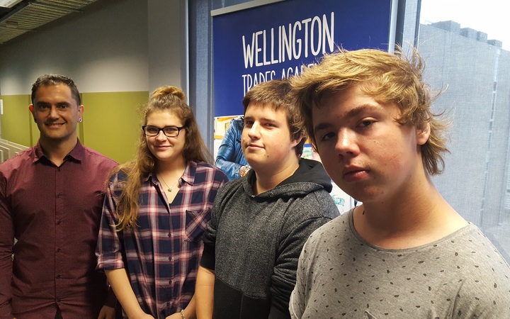 From left Wellington Trades Academy manager, Matt Renata, with Year 12 students Zanel Herselman, Ryan Ramsay, and Jayden Smith.
