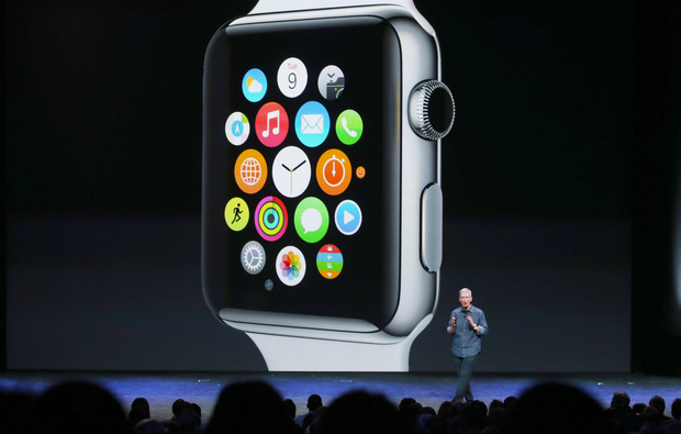 Apple CEO Tim Cook unveils the Apple Watch in September 2014.