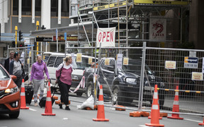 The cordon around quake-damaged buildings on Featherston Street in central Wellington.
