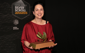 Victoria Kelly poses with her award at the Silver Scrolls Photo RNZ Diego Opatowski