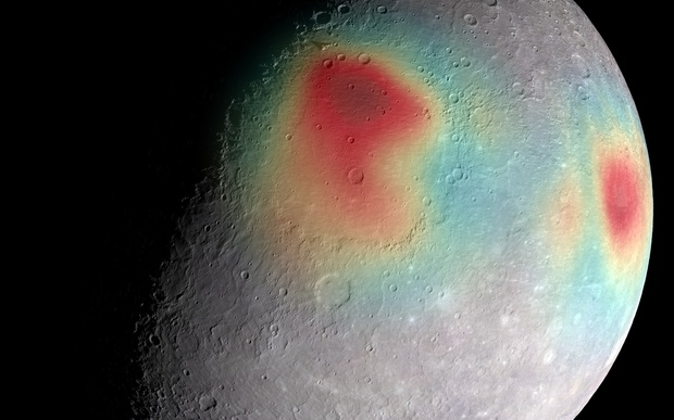 An image released in April 2015 shows Mercury's gravity anomalies in colors.